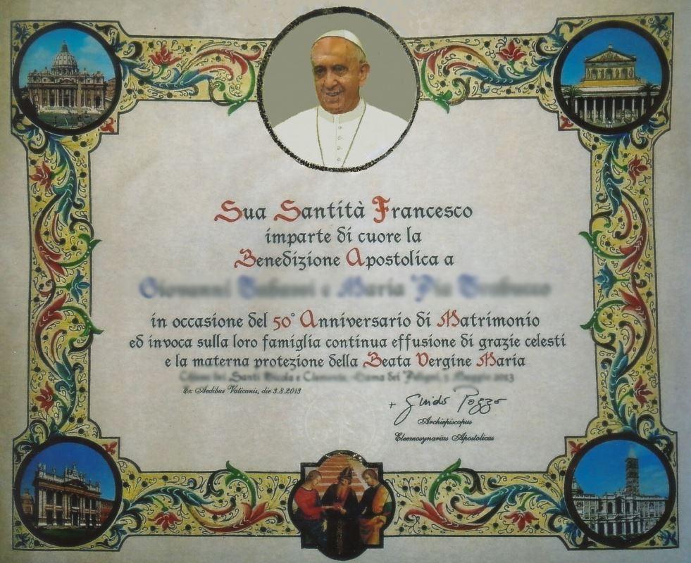Anniversario Di Matrimonio Benedizione.Benedizione Papa Come Ottenere La Pergamena Online