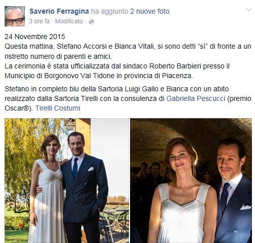 matrimonio stefano accorsi bianca vitali foto facebook