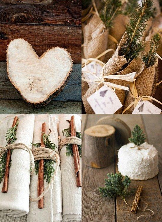 Decorazioni per un matrimonio country invernale