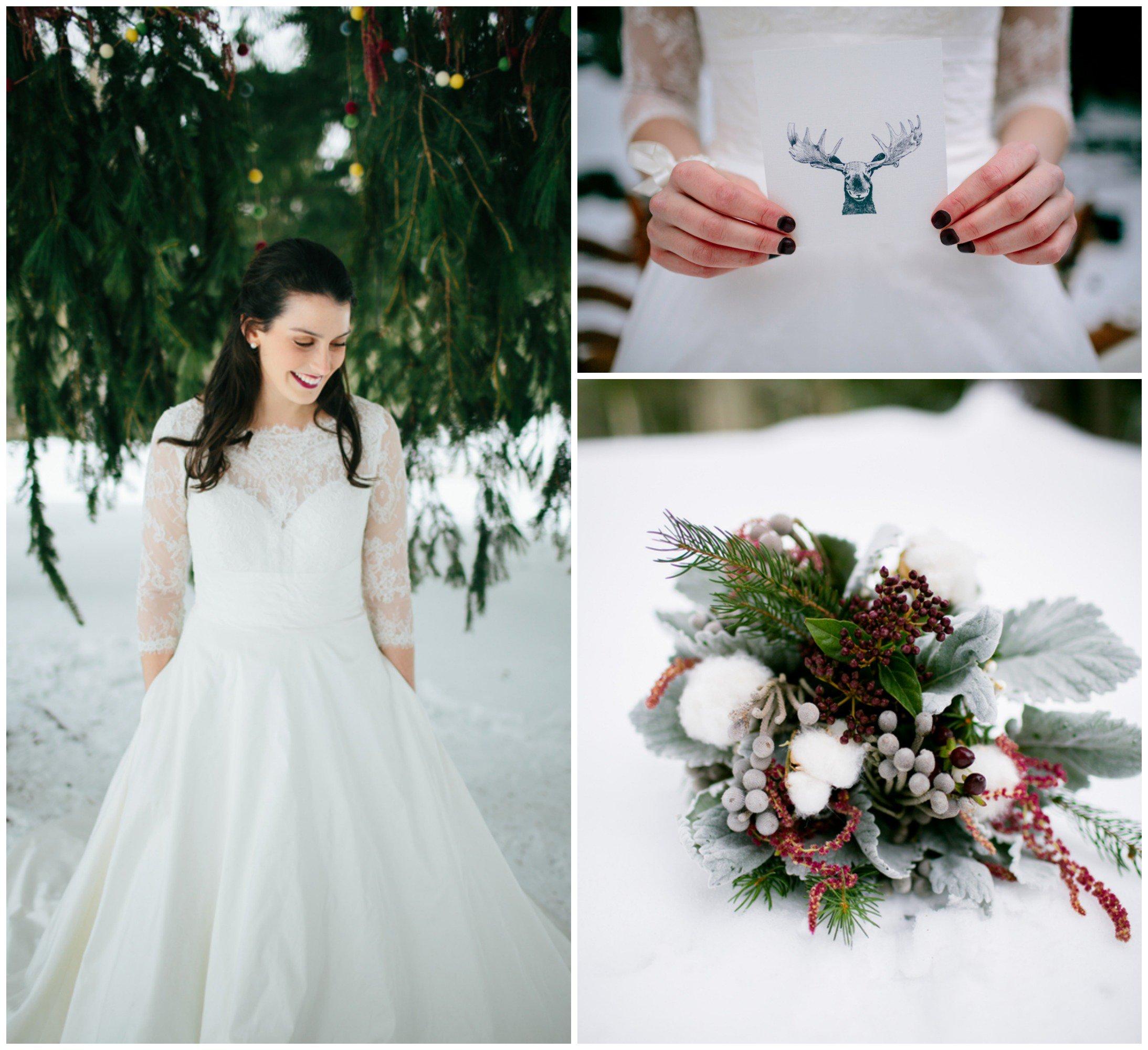 Una perfetta sposa country invernale