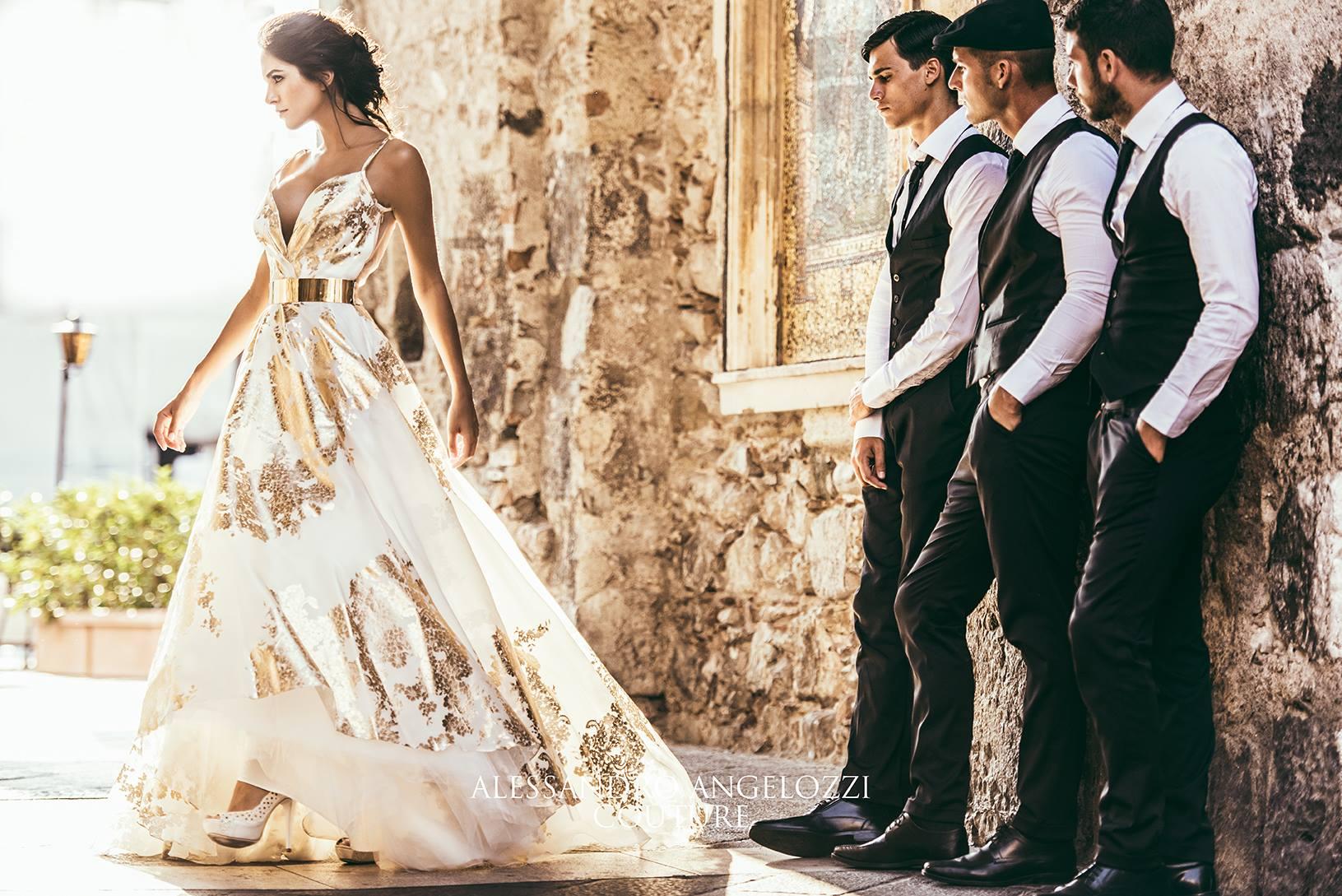 Alessandro Angelozzi Couture con un abito da dea greca