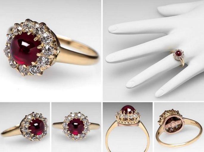 Anello-di-fidanzamento-Art-Nouveau-firmato-Tiffany-Co.-con-rubino-in-taglio-cabochon-di-1.35-carati-e-corona-di-brillanti.-Foto-Eragem