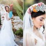Piante grasse e succulente per l'acconciatura della sposa