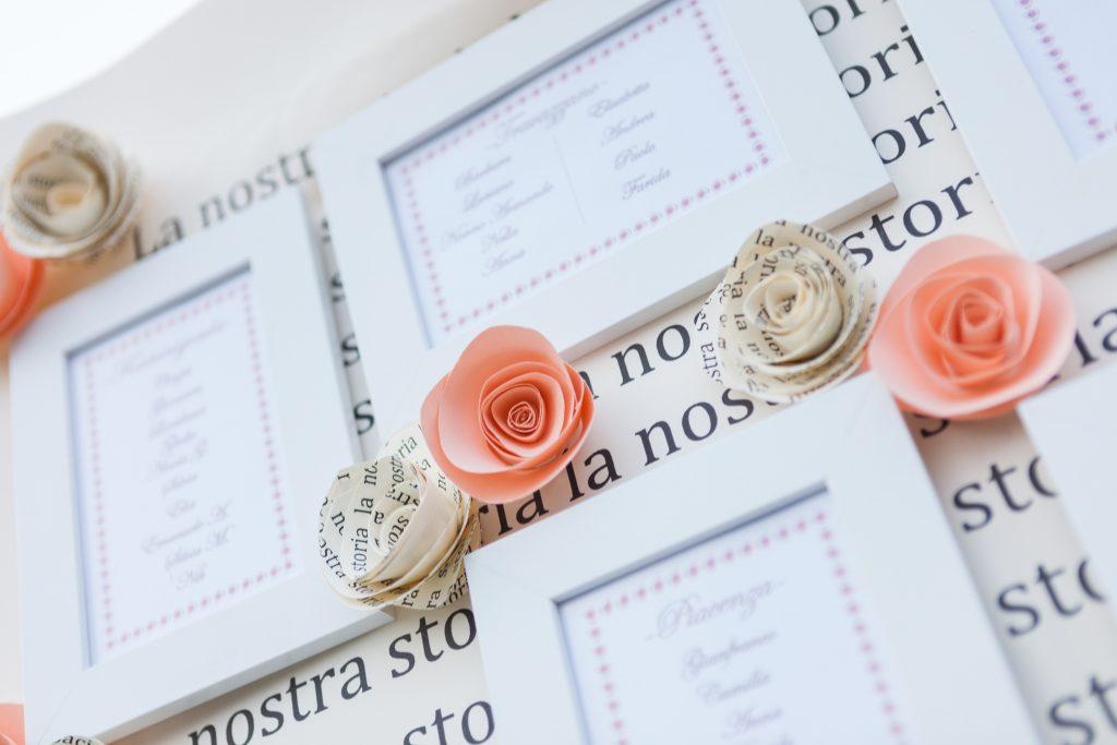 Matrimonio tema rosa, le rose di carta