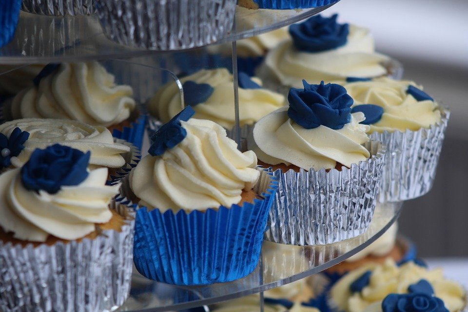 matrimonio in blu, cupcakes nozze