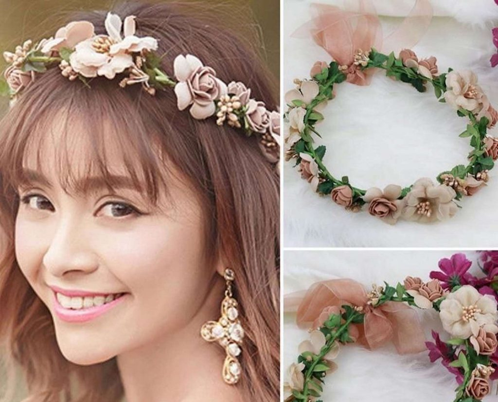 Diadema floreale in tessuto, matrimonio con ebay