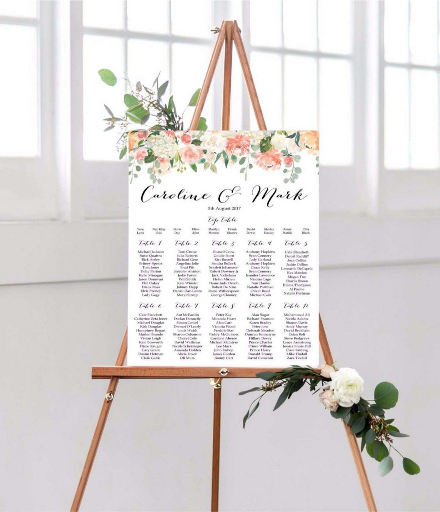 Tableau de Mariage a tema floreale