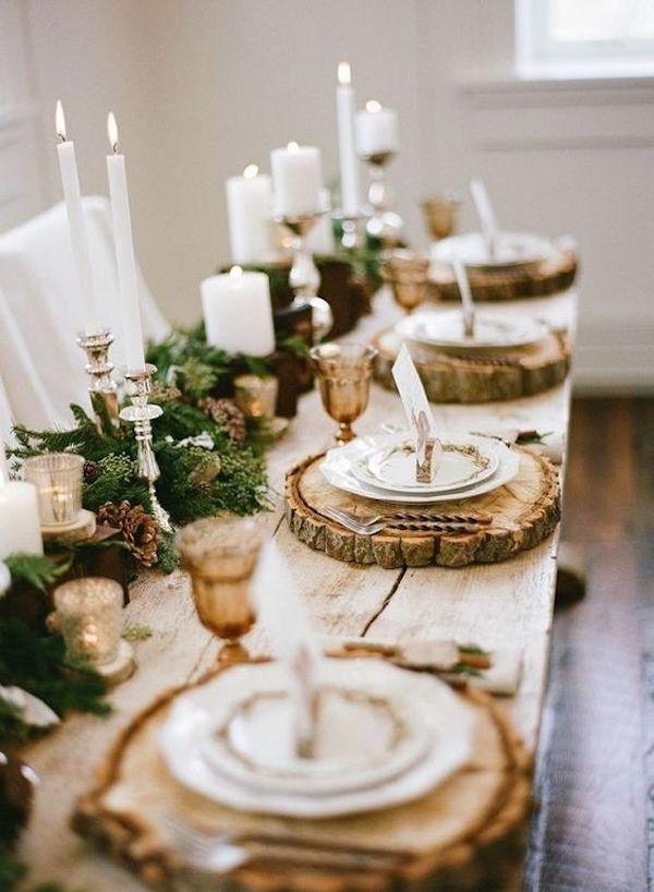 matrimonio a natale tavolo in legno